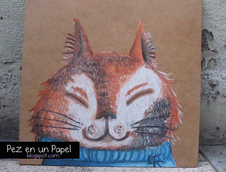 Gatito Bonachón-Pastel Graso sobre MDF