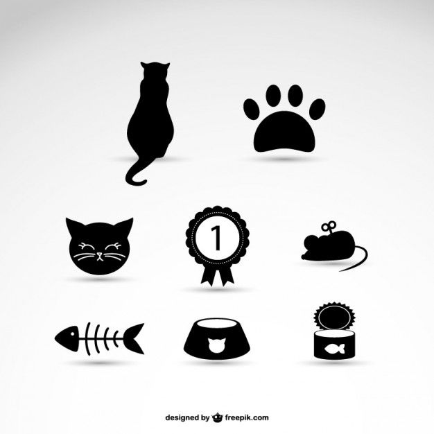 Cat Pet Vector Icons  http://blog.templatemonster.com/2014/06/11/free-cat-icons-for-your-meowelous-projects/?utm_source=Pinterest&utm_medium=Blog&utm_campaign=FrCatic