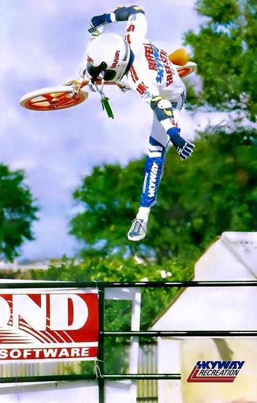 We found these awesome shots of the late, great, BMX legend Andy Ruffell taking his orange Skyway Tuff Wheels to the sky back in the day.