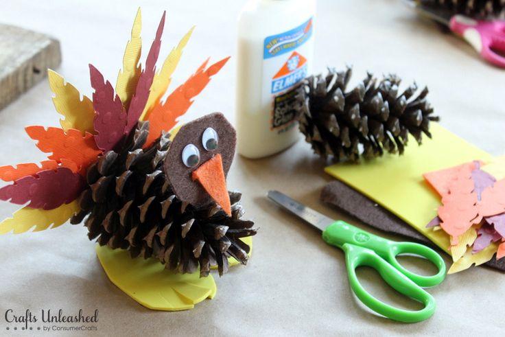 Turkey Craft for Kids: Pine Cone Turkeys - Crafts Unleashed                                                                                                                                                                                 More