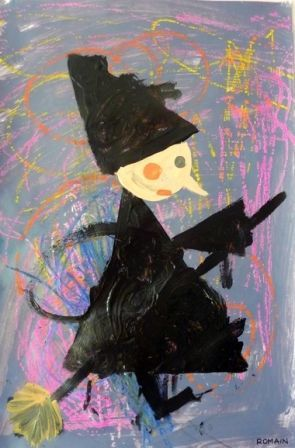 witches from triangles, circles, lines etc... could do as paper collage?