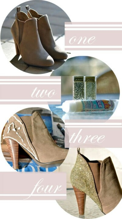 You will need: A pair of ankle boots Gold glitter Craft glue / permanent  fabric glue Step 1 Find a pair.