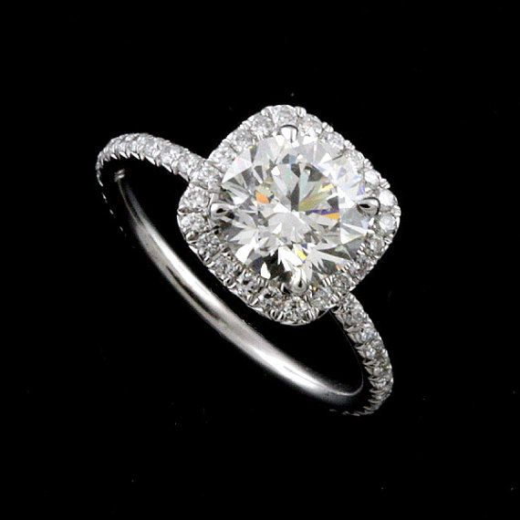 This elegant diamond engagement ring is made of platinum 950. Center stone is NOT included with the price (pictured with approx 1.30ct round cut diamond)