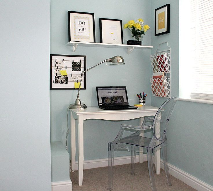 bright home office design light blue yellow and white