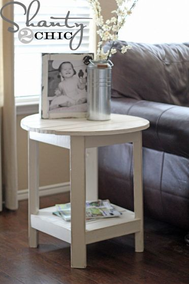 diy round side tableSide Tables, The White, Diy Furniture, Living Room, Diy Round, Round Side, End Tables, Pottery Barn, Handmade Furniture