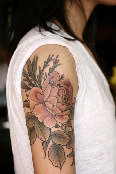 floral tattoo by alice carrier at wonderland tattoo in portland, oregon #ink #tattoo color style