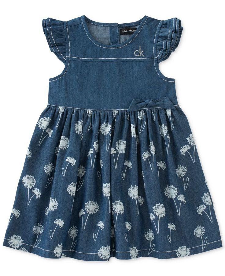 Calvin Klein Little Girls' Floral-Print Denim Dress