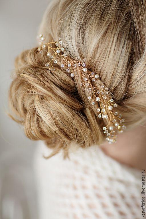 Купить Свадебный веночек/веточка из жемчуга и кристаллов Swarovski - золотой, украшение, украшение в прическу, украшение для невесты