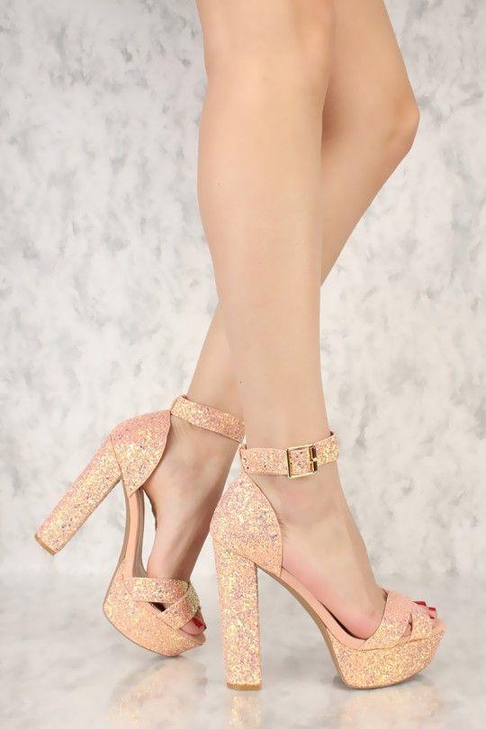 057452ce4b3 Pink Sequins Open Toe Platform Pump Chunky High Heels