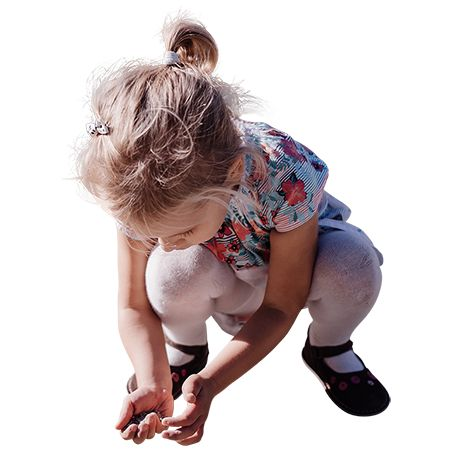 Little girl playing in the sand. This PNG file has the background removed to be placed in a rendering project.