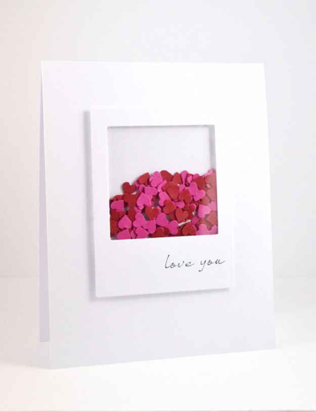 DIY Valentines Day Cards - Valentine's Shaker Card - Easy Handmade Cards for Him and Her, Kids, Freinds and Teens - Funny, Romantic, Printable Ideas for Making A Unique Homemade Valentine Card - Step by Step Tutorials and Instructions for Making Cute Valentine's Day Gifts http://diyjoy.com/diy-valentines-day-cards