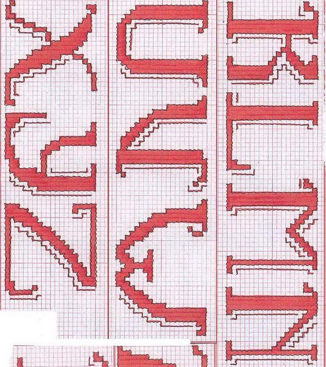 Alfabeto 04a schema punto croce gratis a b c dario en for Lettere a punto croce schemi