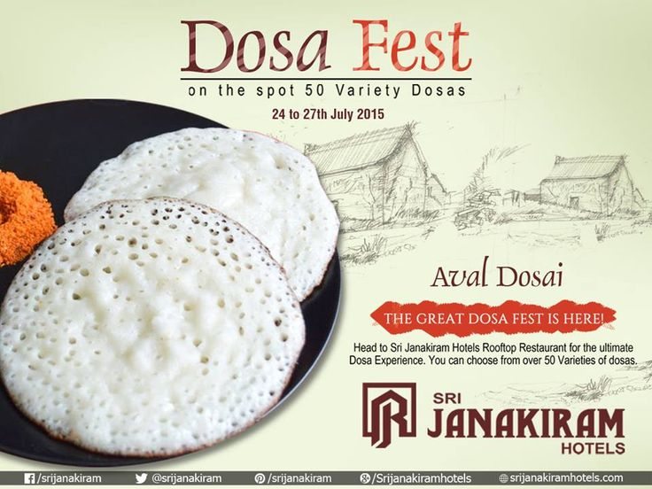 A set of soft and thick spongy #AvalDosas  ! We #SrijanakiramHotels  are ready to serve you at this twilight!! You can choose from over 50_DOSA_Varieties at our #Rooftop_restaurant  #DosaFest #foodie #FoodFestival #FoodMela