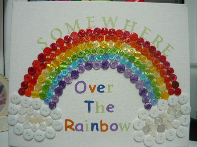 Somewhere over the rainbow button rainbow