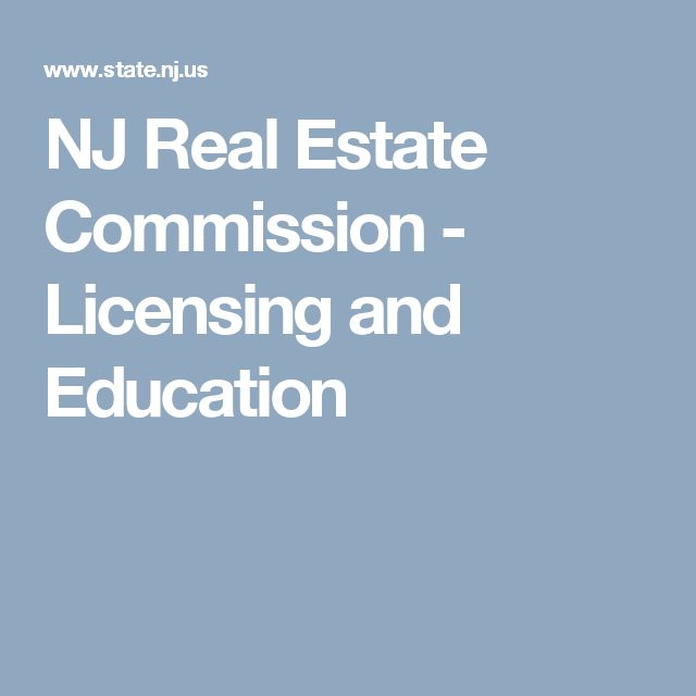 NJ Real Estate Commission - Licensing and Education