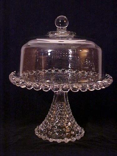 VINTAGE ANTIQUE DUNCAN & MILLER GLASS PEDESTAL CAKE STAND PLATE GIANT HOBNAIL