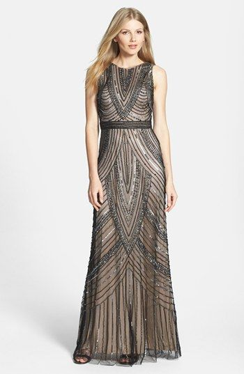 Adrianna Papell Beaded Sleeveless Mesh Gown available at #Nordstrom