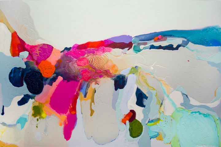 """""""Reach In, Reach Out"""" by Claire Desjardins. 48""""x72"""" - Acrylics on canvas."""