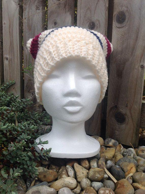 Unisex adult square hat, woolly hat, slouch hat, crocheted hat, winter hat, womens hat, mans hat, cream hat, striped hat, pompom hat, tassle