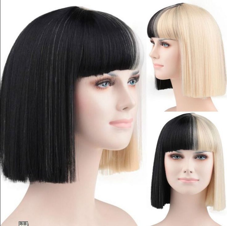Halloween Party Online Sia Black & Blonde Cosplay Wig Free Shiping