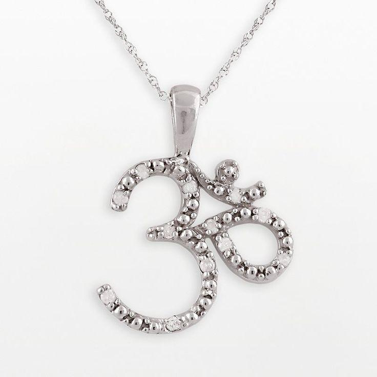 10k White Gold 1/10-ct. T.W. Diamond Om Pendant, Women's