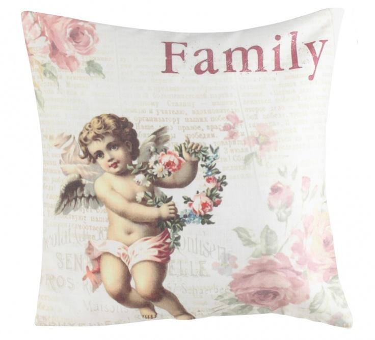"""Pernă decorativă """"Angelique"""" - pernă decorativă cu motive shabby, confecţionată din material textil."""