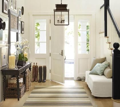 : Entry Way, Idea, Lights Fixtures, Benches, Front Doors, Homes, Lanterns, Entryway, Pottery Barns