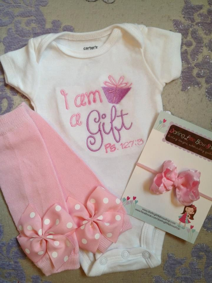 Baby Girl Outfit -- onesie, ruffle bow headband and leg warmers -- I am a Gift, Psalm 127:3-- purple and pink baby shower gift. $39.95, via Etsy.