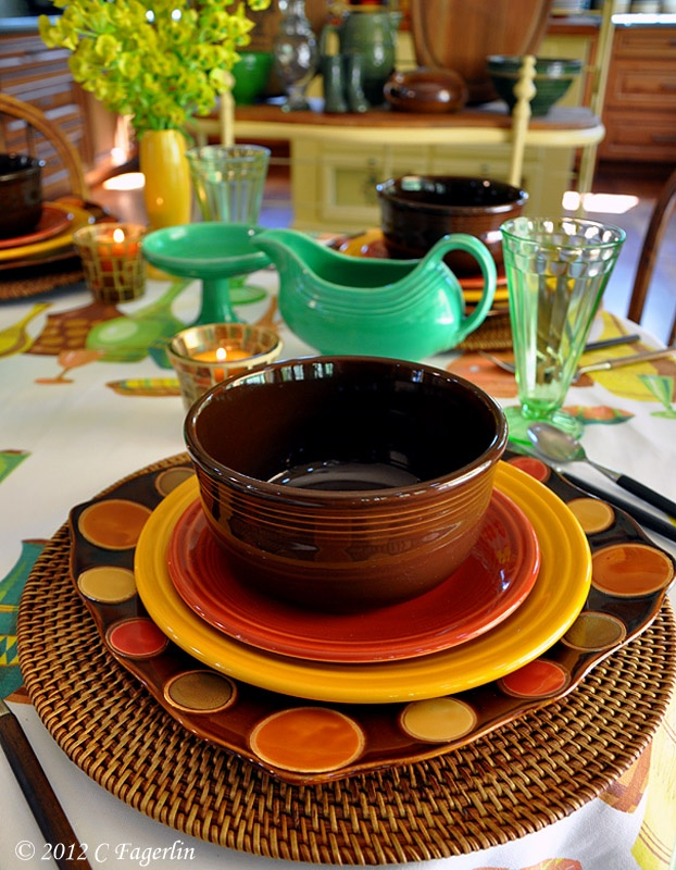 Pier 1 woven chargers....again, not all Fiestaware, but they are using it in their setting and it looks beautiful!