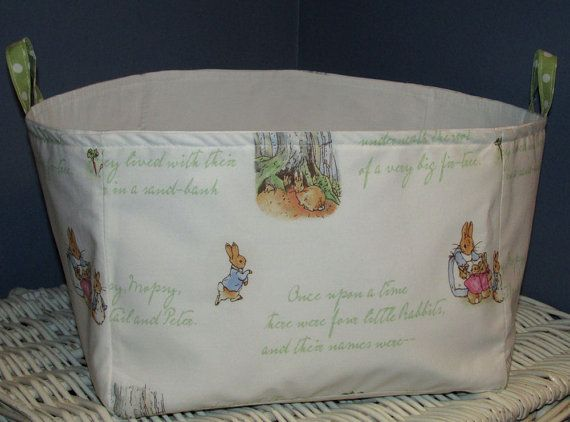 Large Fabric Diaper Storage Bin Organizing Bucket madew Pottery Barn Kids Peter Rabbit Nursery Fabric