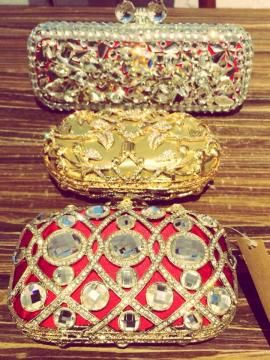 Wedding Clutches - Different wedding clutches | WedMeGood Red mirror work clutch, gold metallic clutch and red silver crystal clutch. Which one would you buy? #wedmegood #red #clutches