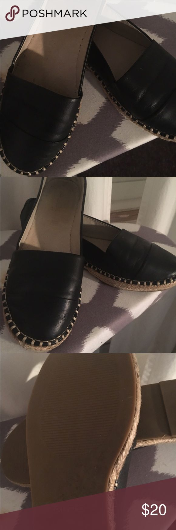 Aldo leather flats Super cute black leather flats with an espadrilles sole. Great condition. Only worn a handful of times. Aldo Shoes Flats & Loafers