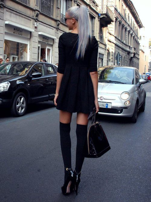 I really need over the knee socks and silver hair!