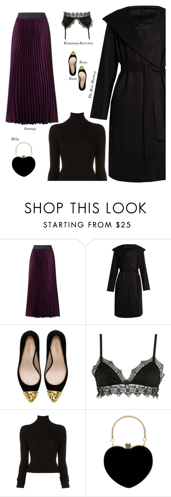 """""""Sexy Modest Winter Date Outfit"""" by s-thinks ❤ liked on Polyvore featuring The Row, Zara, Ermanno Scervino Lingerie and BLK DNM"""