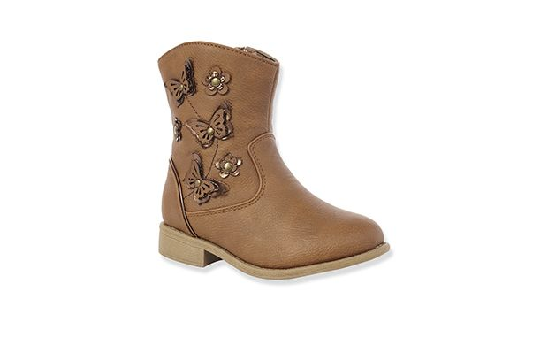 """Ankle Boots. """"With beautiful butterfly embellishments these pretty tan boots will quickly become her favourite pair."""""""