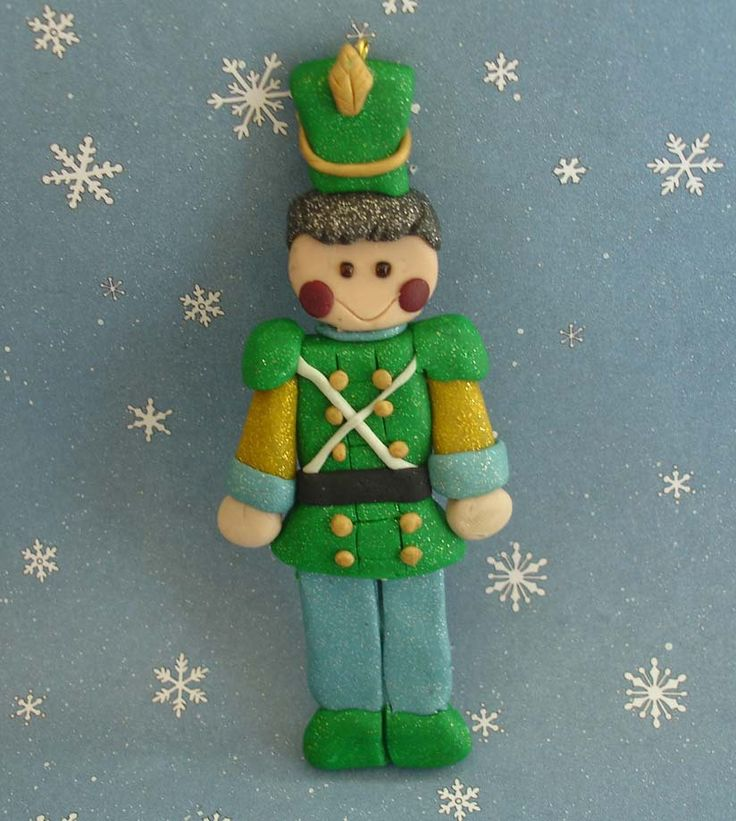 Marching Band Christmas Ornaments Part - 38: Tin Soldier Nutcracker Christmas Ornament Wooden Guard Polymer Clay  Milestone Cake Topper Marching Band Uniform Hat