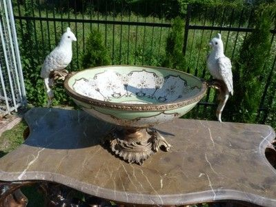 Duża WAZA - PATERA - ŻARDINIERA porcelana z brązem
