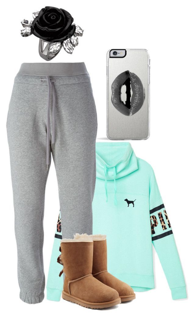 """""""OOTD//Porsha"""" by shayshaybabygurl ❤ liked on Polyvore featuring Victoria's Secret PINK, adidas, UGG Australia and Lipsy"""