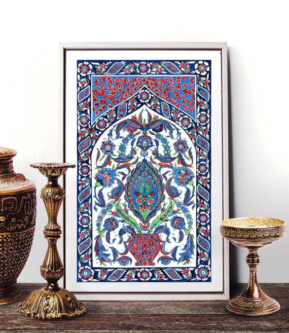 Traditional Antique Ottoman Turkish Tile Watercolor Painting, Vintage Floral Iznik Tile Wall Art, Ornamental Prints and Original Painting by HermesArts