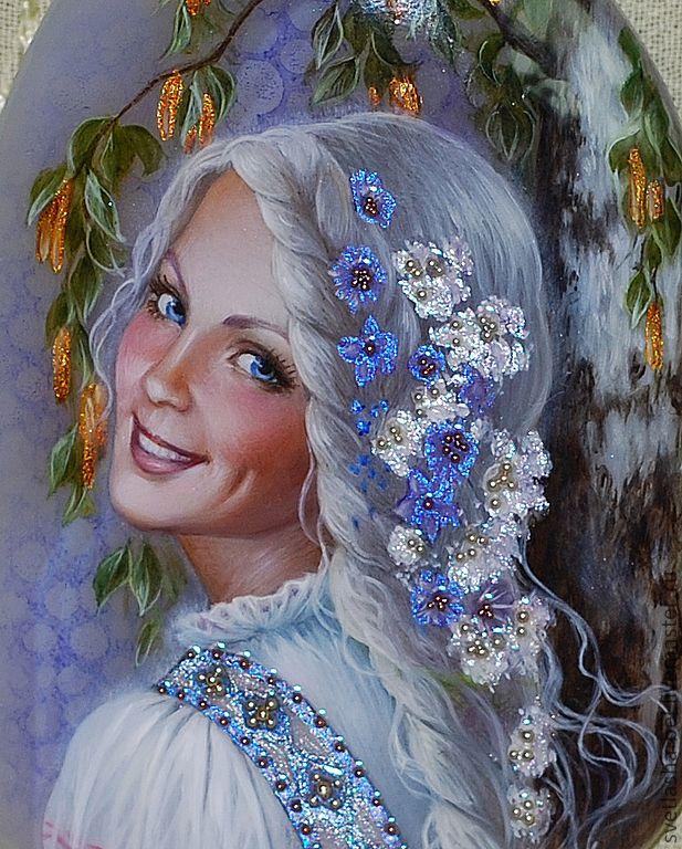 """Купить Кулон """"Леля"""" - голубой, лаковая миниатюра, кулон, берегиня, авторские украшения, ручная роспись"""