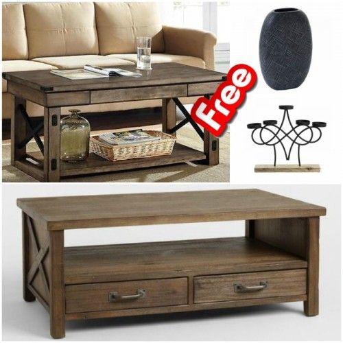 Επωφεληθείτε από την προσφορά μας και δώστε νέο αέρα στον χώρο του καθιστικού σας. Μόνο για αυτή την εβδομάδα με την αγορά ενός χειροποίητου coffee table rustic αισθητικής παίρνετε δώρο ένα κηροπήγιο από ξύλο και μέταλλο και ένα μοντέρνο αλουμινένιο βάζο σε γκρι απόχρωση.