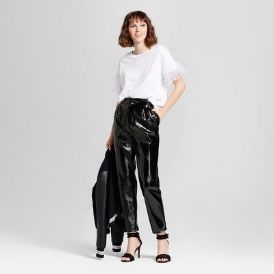 Women's Tapered Leg Patent Paperbag Trouser - Who What Wear Black 12