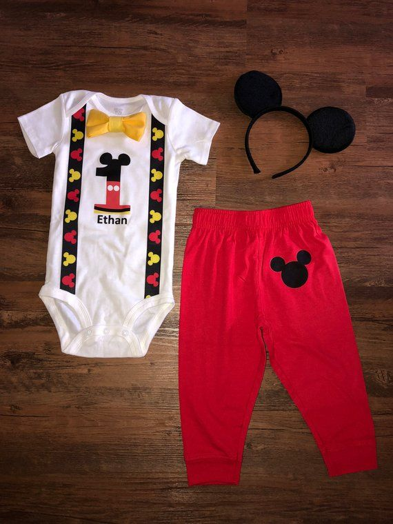 Mickey Mouse 1st Birthday Outfit.Sale Mickey Mouse Inspired Birthday Outfit With Pants In