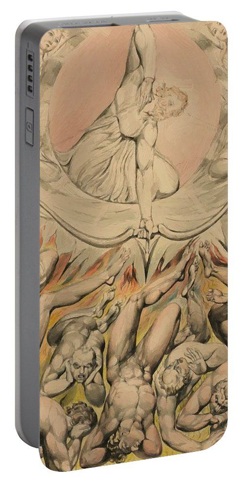 The Portable Battery Charger featuring the painting The Casting Of The Rebel Angels Into Hell 1808 by Blake William