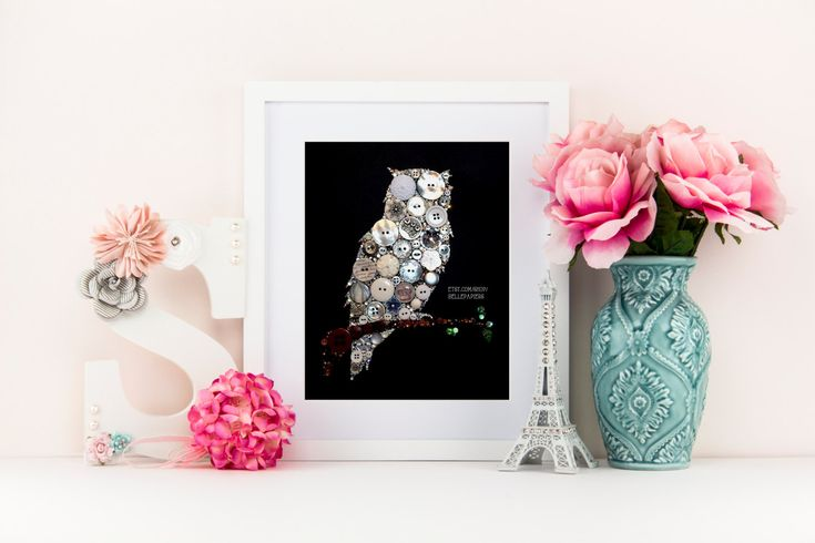 Owl Wall Art | Owl Made of Buttons | Owl Decorations | Swarovski Owl | Button Art Owl | Button Canvas Owl Decoration If youre pleased with the photos of my work, youre not going to believe your eyes when you see your pieces sparkle, precision, and beauty in person! Each owl is 11x14 and