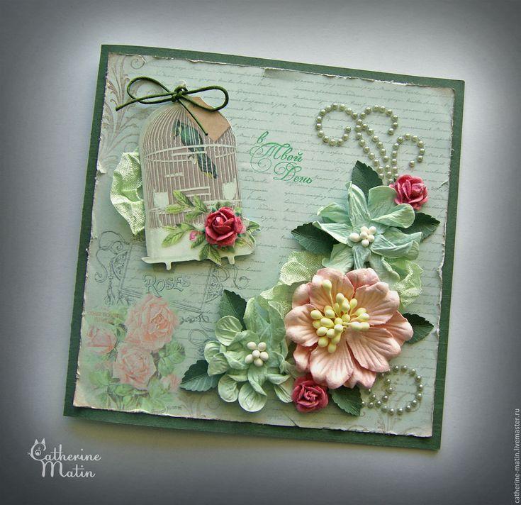 Купить Открытка «Волшебная песня» - мятный, мятно-розовый, открытка, Открытка ручной работы