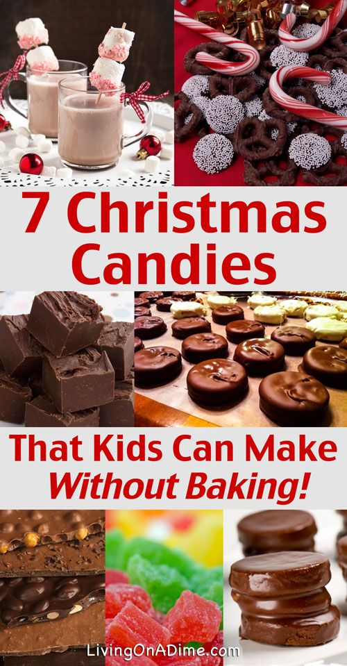 7 No Bake Christmas Candy Recipes Kids Can Make. Here are 7 easy no bake recipes for Christmas Candies your kids can make! Christmas is a great time for fun family traditions and kids love to get involved in making treats, decorating and making and wrapping gifts for everyone!