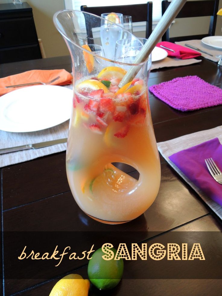 Breakfast Sangria is a sweet & light way to welcome back spring!  Perfect for Mother's Day Brunch! from Diet Deep Dish
