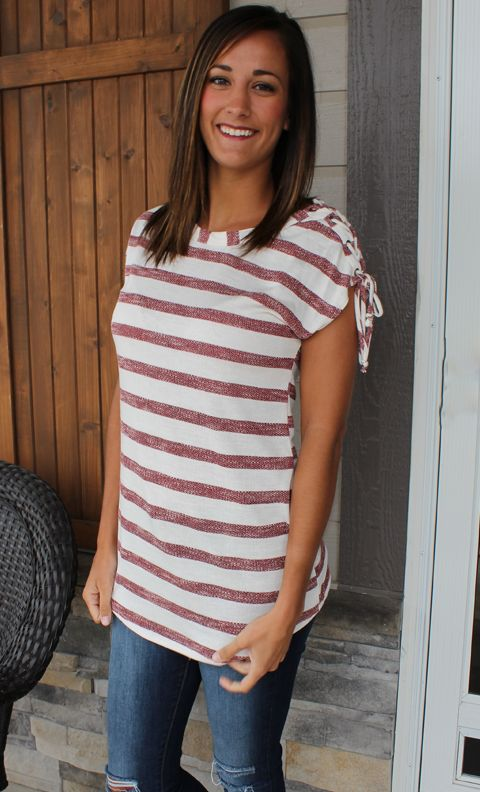 Knit Burgundy and White Short Sleeve Top with Lace-Up Shoulder Detail