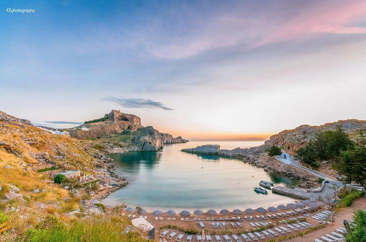 St. Paul's Bay in Lindos, #Rhodes #Rodos #Greece, just 30min from #Faliraki & Millenium Studios!
